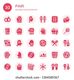 pair icon set. Collection of 30 filled pair icons included Wedding rings, Gloves, Glove, Maracas, Cracker, Flipper, Yin yang, Sandals, Flippers, Positive ion