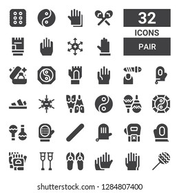 pair icon set. Collection of 32 filled pair icons included Maracas, Gloves, Sandals, Crutches, Glove, Nail file, Yin yang, Flipper, Negative ion, Wedding ring, Positive ion, Cracker