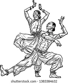 A pair of Indian cultural dancer posing a dance move. Hand drawn vector illustration.