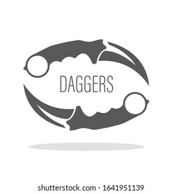Pair of karambit knives as a logo concept or a sign for a gaming team, shooter player or military tactical operation weapon.