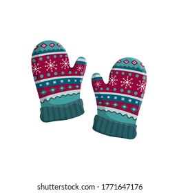 Pair of knitted winter mittens isolated on white background. Vector illustration. Warm mitten icon. Christmas greeting card with mittens.
