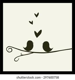 Imágenes, fotos de stock y vectores sobre Love Birds Silhouette