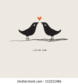Pair of lovebirds isolated on gray background / Love me