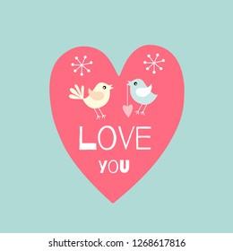 Pair of lovebirds . Romantic card . Vector illustration . Love you