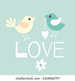 Pair of lovebirds . Vector illustration . Love you