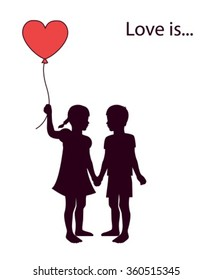 a pair of lovers of children holding heart-shaped balloon
