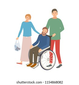 Pair of male and female volunteers helping disabled person. Teenage boy and girl assisting man in wheelchair. Voluntary social aid and care. Colorful vector illustration in flat cartoon style