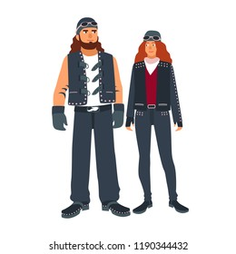 Pair of man and woman bikers dressed in black leather motorcycling clothes isolated on white background. Outlaw motorcycle club subculture. Colorful vector illustration in flat cartoon style.