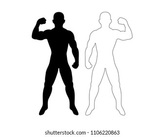 Pair of Men Flexing Making Muscle Outline Silhouette Simple Fitness Pose