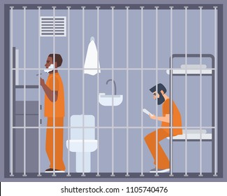 Pair of men in prison, jail or detention center room. Two prisoners or criminals shaving and reading book in cell. Male cartoon characters during imprisonment or confinement. Flat vector illustration.