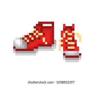 A pair of new red sneakers, pixel art illustration isolated on white background. Trendy sport shoes. Casual footwear brand logo. Old school 8 bit slot machine icon. Retro 80s,90s video game graphics.
