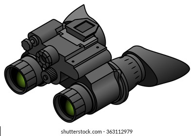 A pair of night vision binoculars with eye hoods/cups.