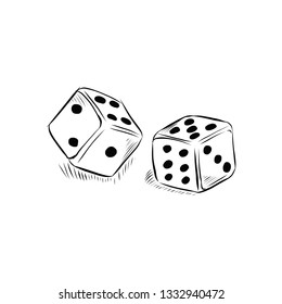 Pair od dices for a casino or lucky games sketch in black and white hand drawn