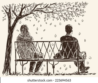 pair on the park bench