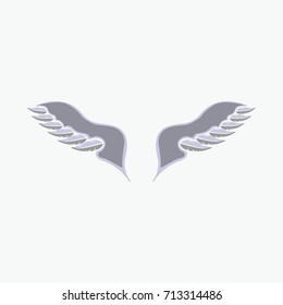 Pair of outstretched beautiful white wings. Flat vector stock illustration