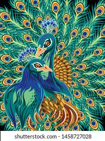 A pair of peacocks on the background of their beautiful feathers