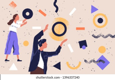 Pair of people collecting and organizing abstract geometric shapes scattered around them. Man and woman holding circles. Concept of teamwork. Vector illustration in contemporary flat cartoon style.