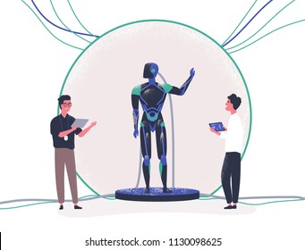 Pair of people standing beside android and controlling it with tablet pc. Presentation of modern anthropomorphic robot, technological breakthrough. Colorful vector illustration in flat cartoon style.