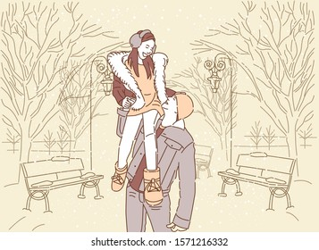 Pair of people walking in snowy in winter park. Lovely couple strolling together. Man and woman in city. Cityscape with trees lit with lights. Vector illustration.
