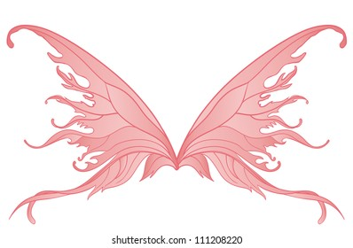 Pair of pink fairy wings isolated on white