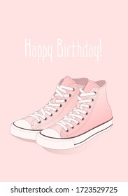 A pair of the pink high top sneakers with white laces on the monochrome background. Happy birthday flat line vector illustration, card, banner, poster