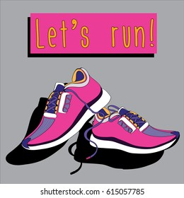 Pair of pink sneakers. Vector illustration on grey background. Let's run!