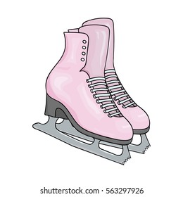 Pair of pink women's skates on a white background. Winter sports logo. Hand drawing women's ice skates. Vector illustration.