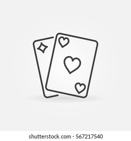 Pair of playing cards icon. Vector minimal poker or blackjack symbol or logo element in thin line style