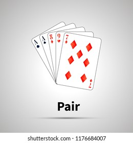 Pair poker combination with shadow on gray