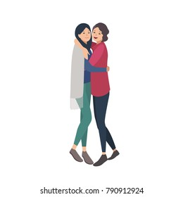 Pair of pretty young women standing together and hugging. Close friends or sisters embracing and laughing. Flat female cartoon characters isolated on white background. Colorful vector illustration.