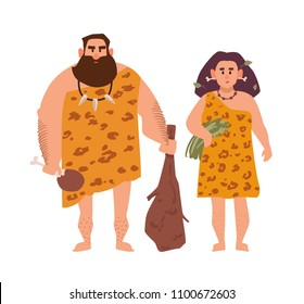 Pair of primitive archaic man and woman dressed in fur clothes and standing together. Romantic couple from Stone Age, cavemen. Cartoon characters isolated on white background. Vector illustration
