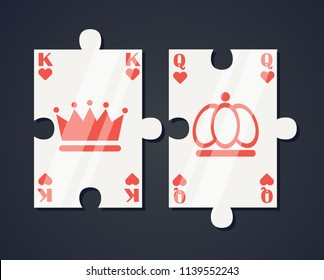 Pair of puzzle pieces playing cards, heart king and queen, concept representing perfect love match.