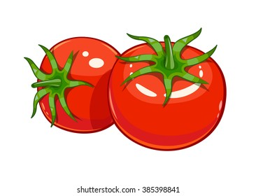 Pair red ripe tomato vector illustration. Isolated white background. Transparent objects used for lights and shadows drawing
