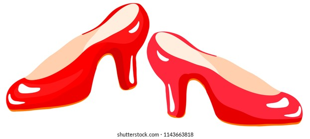 Pair of red slippers vector graphics