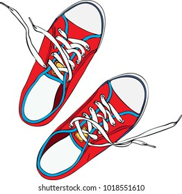 pair of red trampled old shoe with laces untied white, top view, drawn by hand and isolated on white background
