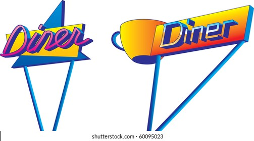 A pair of retro looking diner signs in 1950s style.
