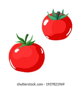 A pair of ripe red tomatoes. Vector illustration of vegetables isolated on white background