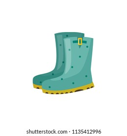 Pair of rubber boot in turquoise color - waterproof autumn footwear for seasonal design in flat style. Isolated vector illustration of gumboots for protection against water and puddles.