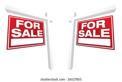 Pair of For Sale Real Estate Signs In Perspective. Please see my variations on this theme - more vector Real Estate signs.