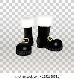 A pair of Santa Claus Christmas black high boots . Realistic vector illustration icon isolated on transparent background.