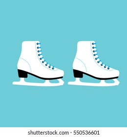 A Pair of the skates. White woman Ice skates icon isolated on blue. vector illustration.