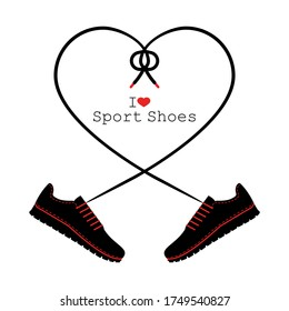 A pair of sneakers and a heart shaped shoelaces. A pair of gym shoes with long laces. I love sport shoes. Isolated vector illustration on white background. Flat style.