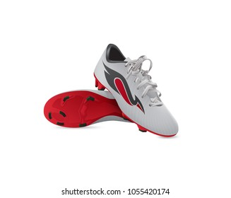 Pair of soccer boots with black-red stripe, vector concept