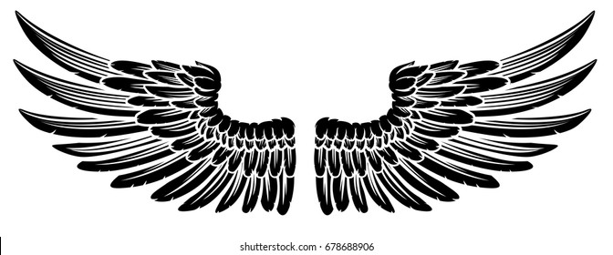 A pair of spread etched woodcut vintage style wings