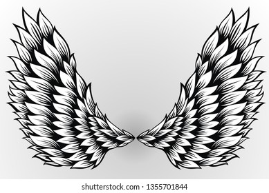 Pair of spread out angel wings
