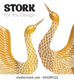 A pair of storks, a love story logo.