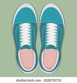 Pair of stylish sport sneakers, top view. Sport shoes for running. Vector illustration in flat style