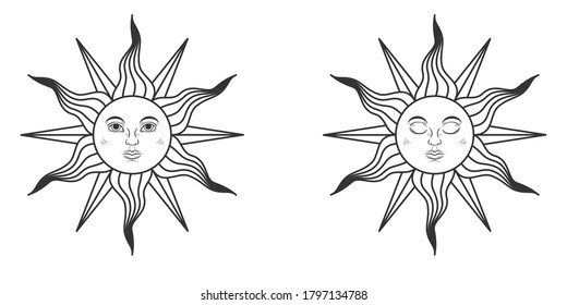 Pair of suns with open and closed eyes in medieval style isolated on white background. Vector illustration
