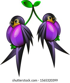 a pair of swallows in the form of a pair of plums, two plums two swallows