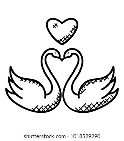 A pair of swans kissing with a heart at the top of them, doodle vector